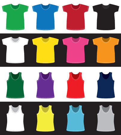 T-shirts and shirts for children and adults of different colors without pattern on white and black background 일러스트