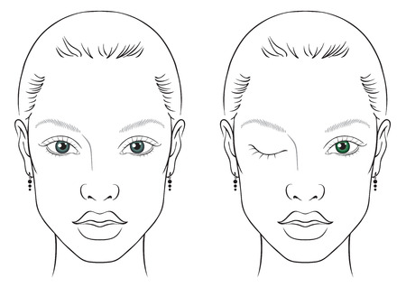 illustration on a white background outline of the human female face for makeup Stock Illustratie