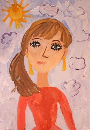Childrens drawing gouache: a portrait of my mother. Painting with a woman in a red dress on a background of the sky
