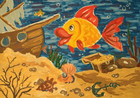 Childrens illustration gouache: the underwater world. Sunken ship with treasure and fish