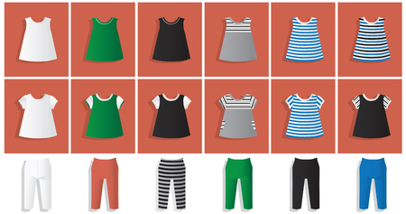 Illustration set of clothes for girls: leggings, tunic, dresses in different colors Illustration