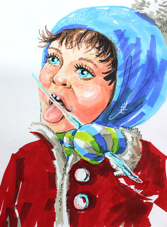 sucks: Colored illustration by markers: a girl in winter sucks an icicle icicle Stock Photo