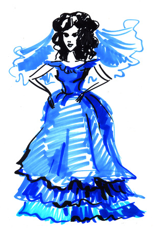 long hair model: colored illustration markers on a white background sketch of a bride in a blue dress
