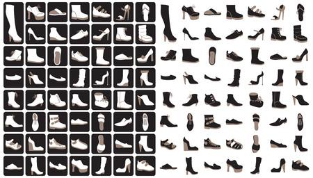 Een set iconen op een zwart-witte achtergrond: vrouwen-, heren- en kinderschoenen Stock Illustratie