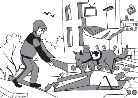 A dog and a lifeguard help a person in an emergency situation. The collapse of the house after the explosion. Illustration
