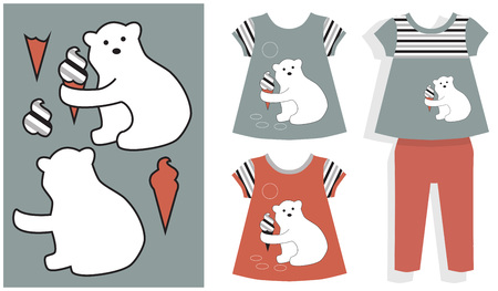 tunic: Application in parts and clothing girls polar bear and ice cream