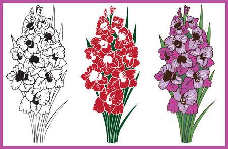 Illustration auf weißem Hintergrund Bouquet von lila und rote Rosen Handzeichnung Standard-Bild - 83997753