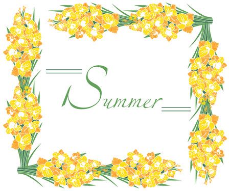 Illustration auf weiß gelb gladioli Rahmen von Blumen Standard-Bild - 84435390