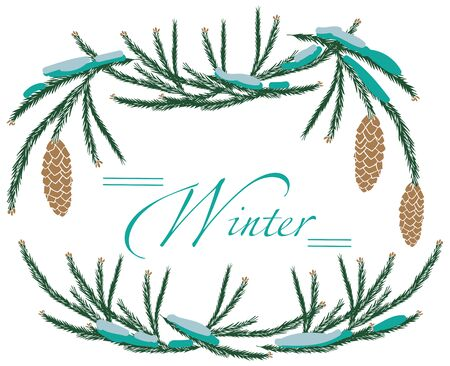 Illustration on white frame with branches winter pine tree and cones