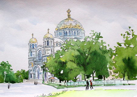 orthodoxy: Russia city of Kronstadt drawing watercolor Nikolsky Naval Cathedral in the afternoon Stock Photo