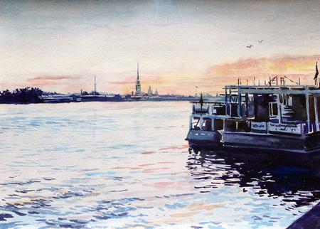 Tekening met aquarel op papier. Rusland stad Sint-Petersburg. Kaai in de ochtend. Het fort van Peter-Pavel.