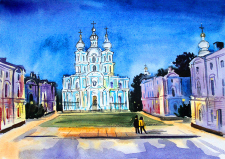 orthodoxy: Russia city of Saint-Petersburg drawing on paper watercolor Smolny Cathedral at night