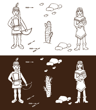 Illustration on white and dark background Wild West. Injun woman with child Illustration
