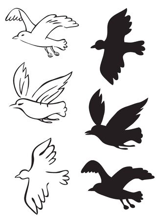 Illustration on white background birds flying silhouettes of different