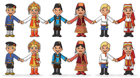 Illustration on white background children in national costumes holding hands. Girl with boy couple