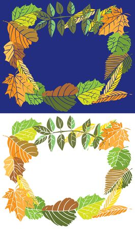 illustration on a blue and white background with frame of autumn leaves Illustration
