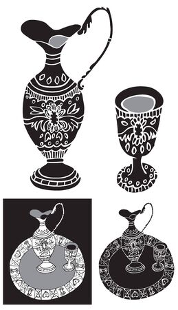 decanter: black illustration of a tray with a glass and decanter ornament on white background