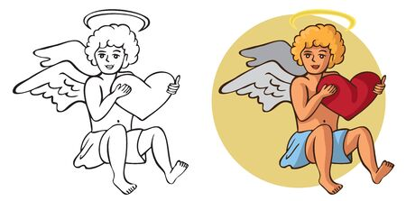 Illustration on white background Cupid with heart in hand