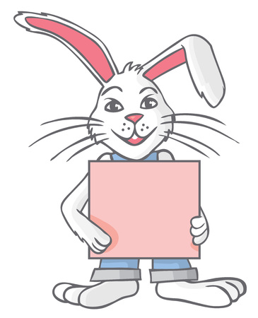 illustration of a white rabbit in clothes with a blank sheet of paper.