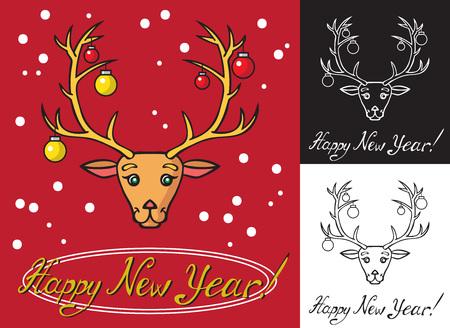 사슴 및 모피 트리 장난감 뿔. 새 해와 함께 검은 색, 빨간색과 흰색 배경에 비문.