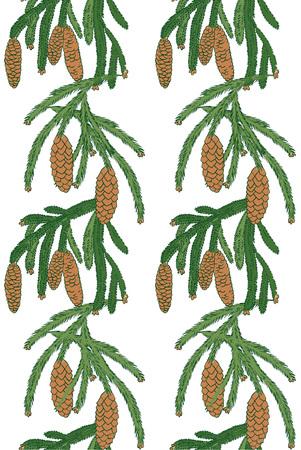소나무와 흰색 배경에 콘의 지점과 원활한 패턴