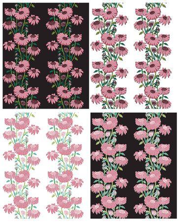 흰색과 검정색 배경에 아름다운 꽃 분홍색 원활한 꽃 벽지