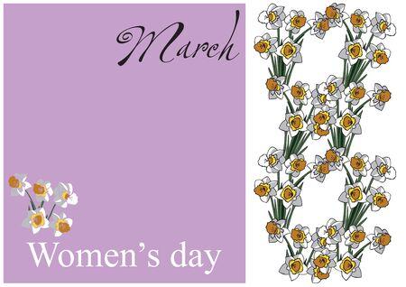 8 월 단어와 여자의 날 및 3 월의 형태로 흰색 수 선화 라일락 카드