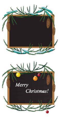 눈과 장난감 소나무 분기와 크리스마스 화 환을 만든 그림 및 분필로 블랙 보드