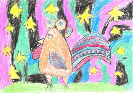 종이 수탉에 왁 스 크레용 그리기 및 밤에 별이 빛나는 하늘