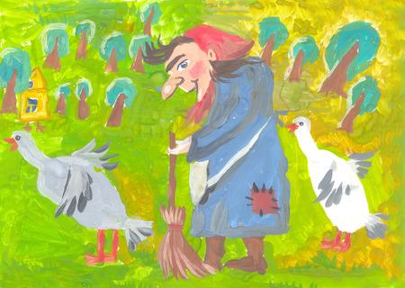 노파는 자연과 숲을 배경으로 야가와 두 마리의 거위입니다. 종이에 슈의 그림입니다.