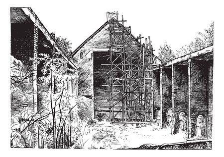 Cannellarvi 유적지에서 교회의 검은 잉크로 손으로 그리기. 건축의 복원. 카톨릭 교회