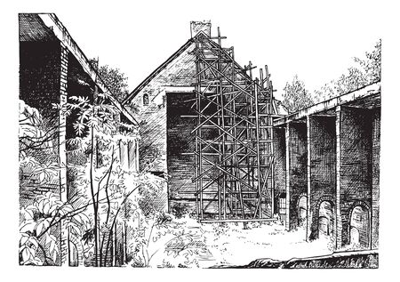 drawing by hand with black ink of the church in Cannellarvi ruins. Restoration of architecture. Catholic Church