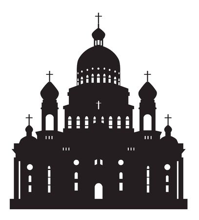 black silhouette on a white background Ushakov Cathedral in the city of Saransk Mordovia