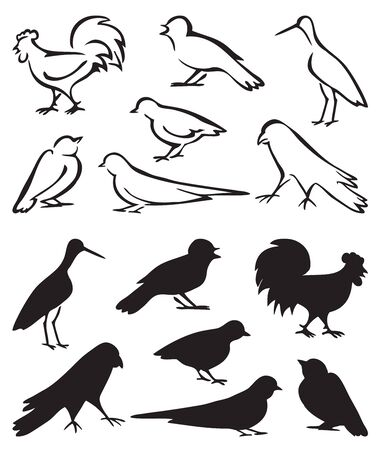 An illustration on white background with black outline and bird sitting silhouette