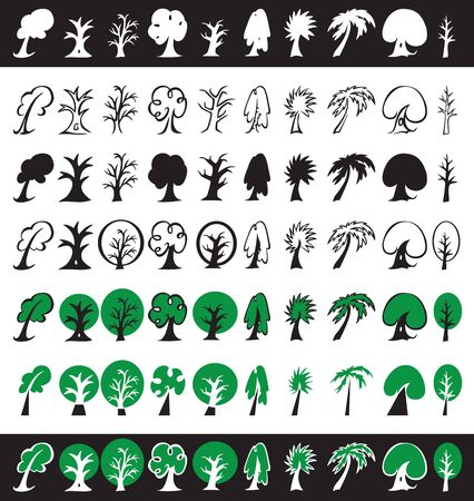 Illustration of different trees icons, silhouettes and symbols