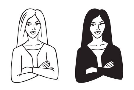 Illustration on white background business woman with arms crossed on her chest 일러스트