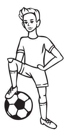 Illustration on white background boy football player put his foot on the ball. 일러스트