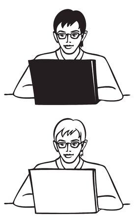 illustration on white background young man with glasses behind laptop