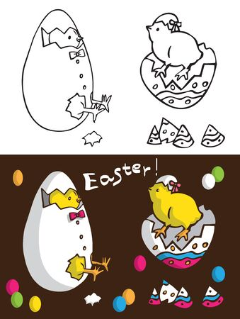 Easter Chicks illustration of a boy and a girl hatched from an egg