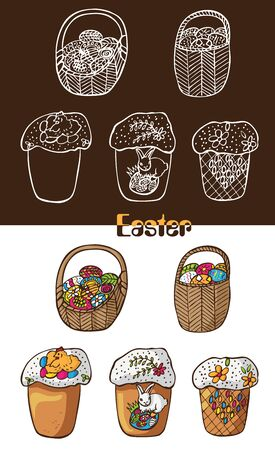 Illustration of Easter treats on dark and white background of a basket with eggs and beautiful cakes