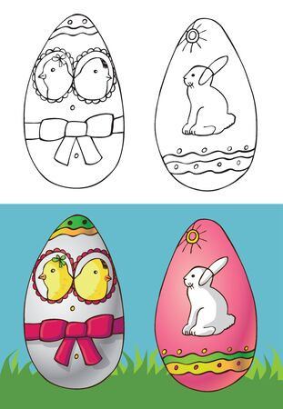 Illustration of Easter eggs with chickens and a white rabbit on green grass 일러스트