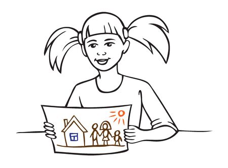 Illustration on white background girl shows her drawing on a sheet of paper. Family and house