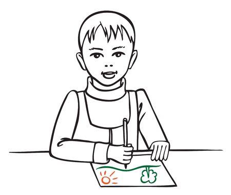 Illustration on white background little boy draws a pencil on paper landscape