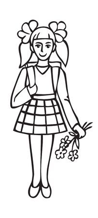 illustration on white background schoolgirl with flowers and backpack smiling behind 일러스트