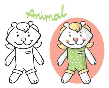 Illustration on white background cartoon animal teddy bear in clothes is standing. 일러스트