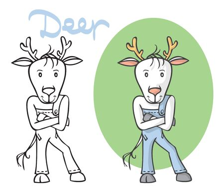 illustration on white background cartoon animal deer in jeans is standing