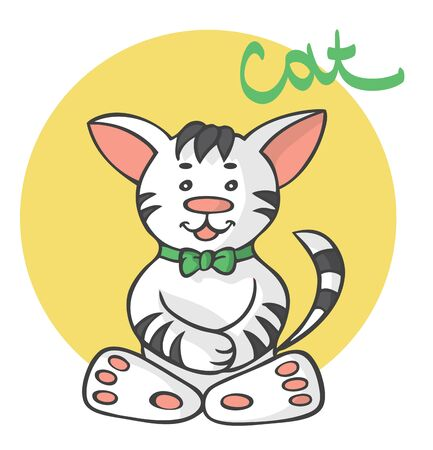 illustration on white background sits cat cartoon with green bow.