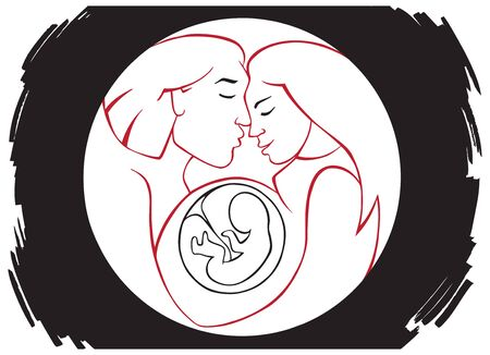 illustration in a circle family and pregnant woman with an embryo Ilustrace