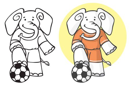Illustration of an elephant in sports form with football ball.