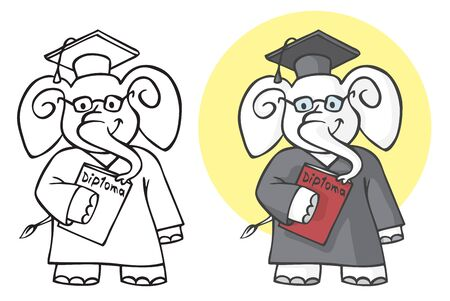 illustration on white background an elephant student wearing glasses with a red diploma in his hands